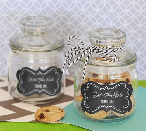 Chalkboard Wedding Personalized Mini Cookie Jars-Jubilee Favors