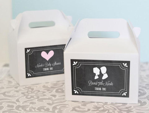 Chalkboard Wedding Personalized Mini Gable Boxes (set of 12)-Jubilee Favors