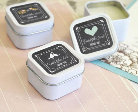 Chalkboard Wedding Personalized Square Candle Tins-Jubilee Favors