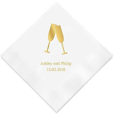 Champagne Flutes Printed Paper Napkins-Jubilee Favors