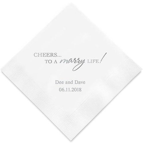 Cheers To A Marry Life Printed Paper Napkins-Jubilee Favors