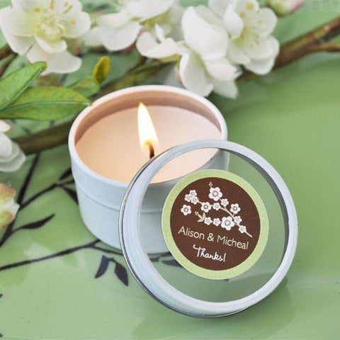 Cherry Blossom Personalized Round Travel Candle Tins-Jubilee Favors
