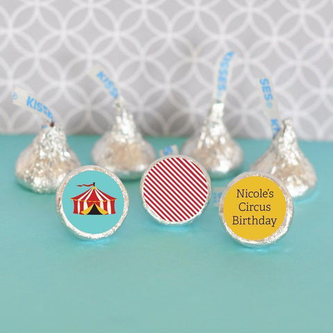 Circus Carnival Personalized Hershey's® Kisses Labels Trio (Set of 108)-Jubilee Favors