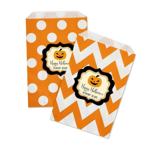 Classic Halloween Chevron & Dots Personalized Goodie Bags-Jubilee Favors
