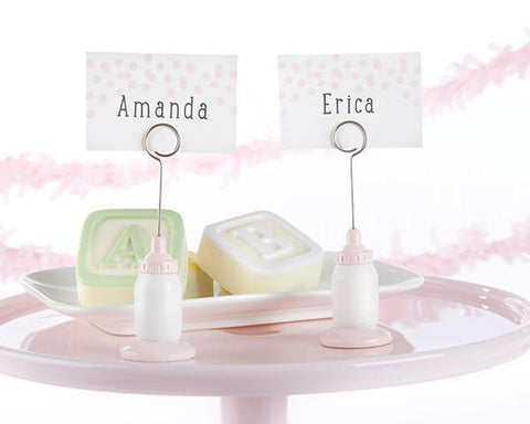 Classic Pink Baby Bottle Place Card Holder (Set of 6)-Jubilee Favors