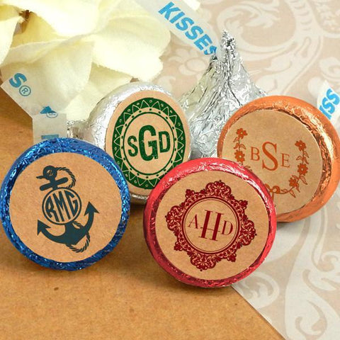 Colored Foil Hershey's Kisses - Monogram Kraft (Set of 100)-Jubilee Favors