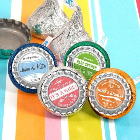 Colored Foil Hershey's Kisses - Vintage Bottle Caps (Set of 100)-Jubilee Favors