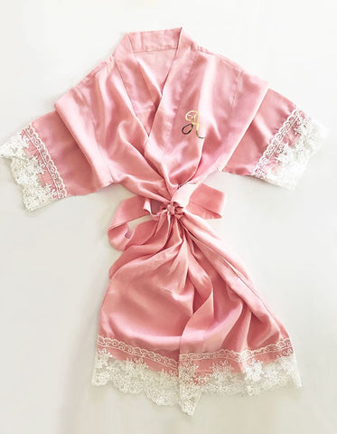 Cotton Lace Monogram Child Robes-Jubilee Favors