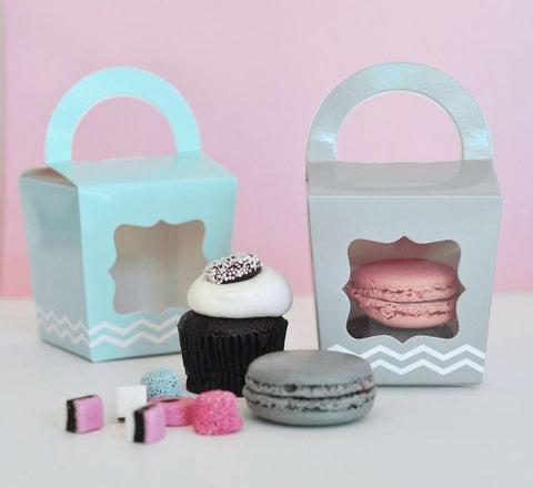Cupcake 'n' Treats Tote Boxes (set of 12)-Jubilee Favors