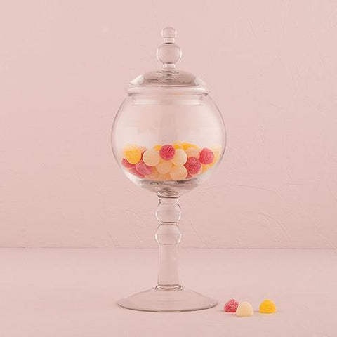 Decorative Pedestaled Apothecary Jar With Globe Shaped Bowl-Jubilee Favors
