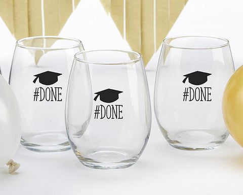 #Done Graduation 15 oz. Stemless Wine Glass (Set of 4)-Jubilee Favors