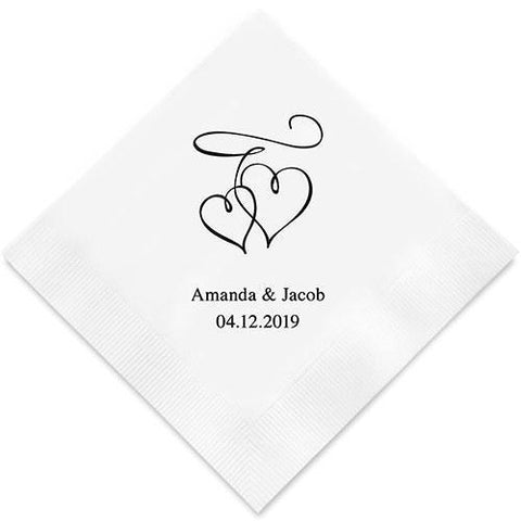 Double Hearts Printed Paper Napkins-Jubilee Favors