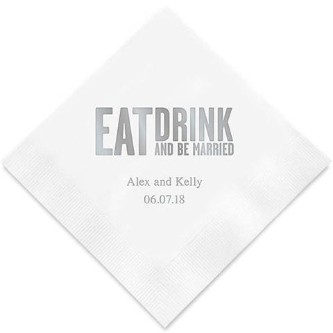 Eat Drink & Be Married - Block Style Printed Napkins-Jubilee Favors
