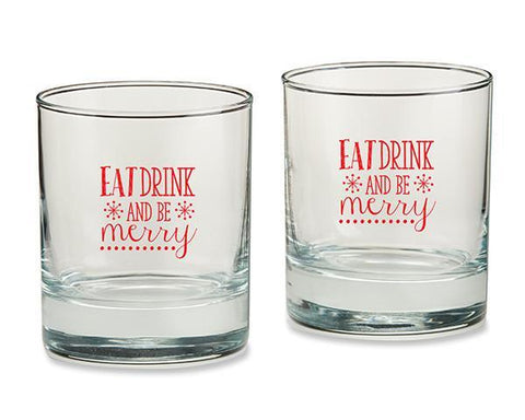 Eat, Drink & Be Merry 9oz. Rocks Glass (Set of 4)-Jubilee Favors