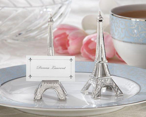 """Evening in Paris"" Eiffel Tower Silver-Finish Place Card/Holder (Set of 4)-Jubilee Favors"