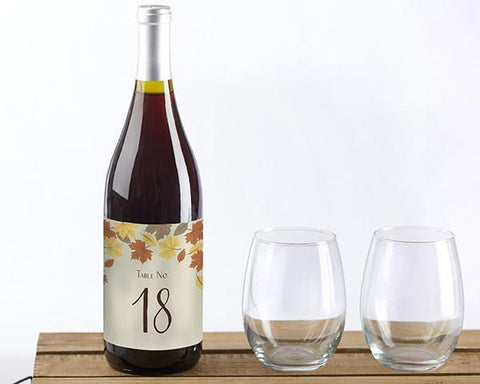 Fall Leaves Wine Label Table Numbers (1-20)-Jubilee Favors