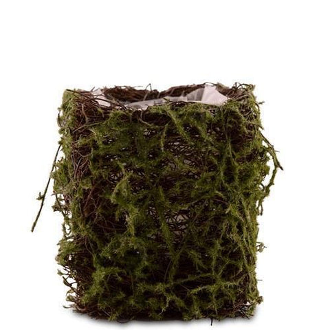 Faux Moss And Wicker Mini Favor Planter With Liner (Set of 4)-Jubilee Favors