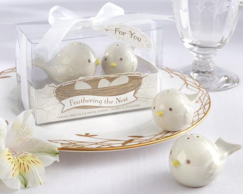 """Feathering the Nest"" Ceramic Birds Salt & Pepper Shakers-Jubilee Favors"