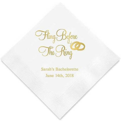 Fling Before The Ring Bachelorette Party Printed Napkins-Jubilee Favors