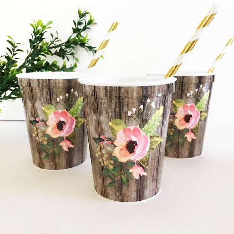 Floral Party Cups (Set of 25)-Jubilee Favors