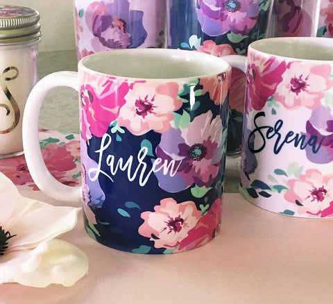 Floral Personalized Coffee Mugs-Jubilee Favors