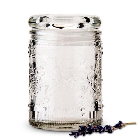 Floral Pressed Glass Mason Jar Favor With Stopper (Set of 6)-Jubilee Favors