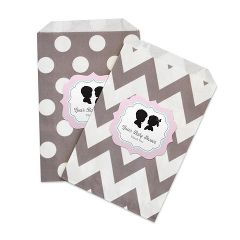 Gender Reveal Party Chevron & Dots Goodie Bags (set of 12)-Jubilee Favors
