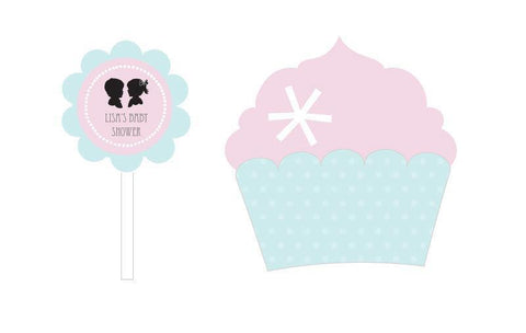 Gender Reveal Party Cupcake Wrappers & Cupcake Toppers (Set of 24)-Jubilee Favors