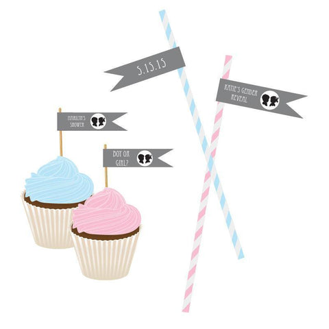 Gender Reveal Party Personalized Flag Labels-Jubilee Favors