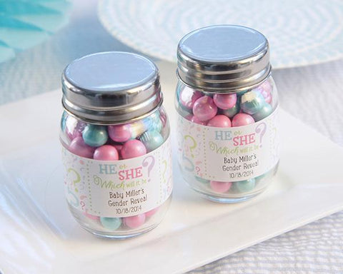 """Gender Reveal"" Personalized Mini Mason Jar (Set of 12)-Jubilee Favors"