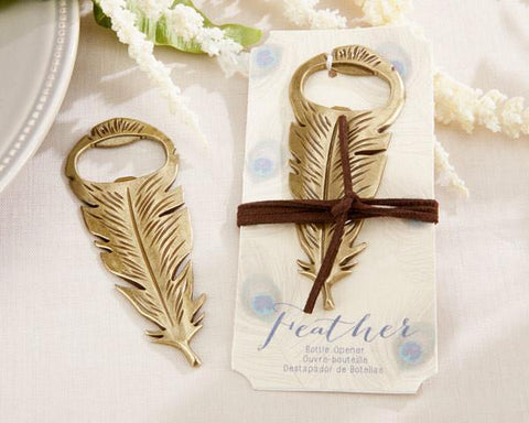 """Gilded Gold"" Feather Bottle Opener-Jubilee Favors"