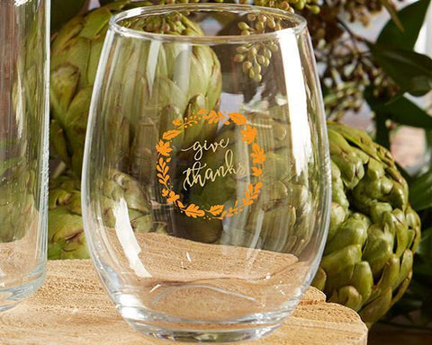 Give Thanks 15 oz. Stemless Wine Glass (Set of 4)-Jubilee Favors