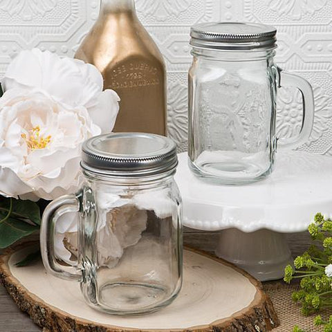 Glass Mason Jar with Handle 12 oz-Jubilee Favors