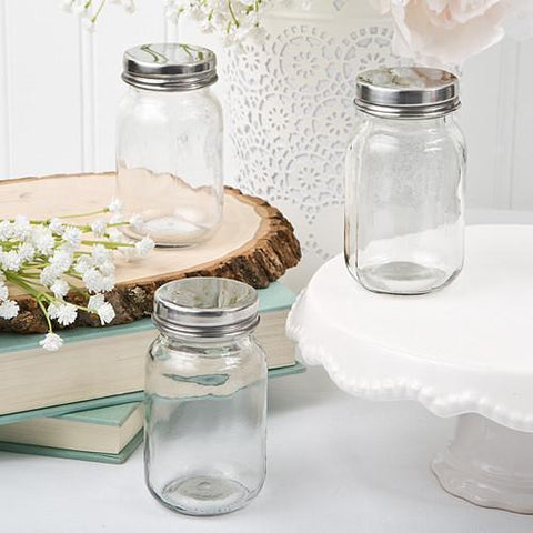 Glass Mason Jar with Silver Screw Top Lid-Jubilee Favors