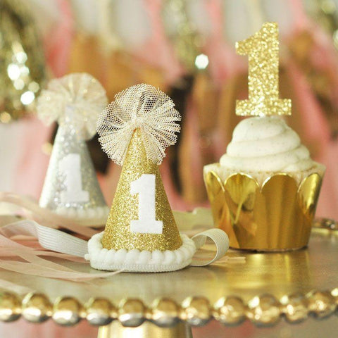 Glitter 1st Birthday Party Hats-Jubilee Favors