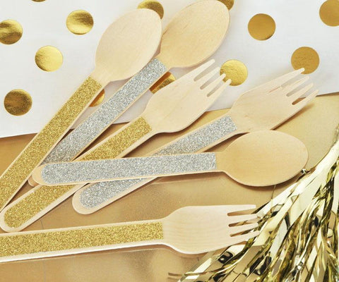 Glitter Spoons & Forks (set of 24)-Jubilee Favors