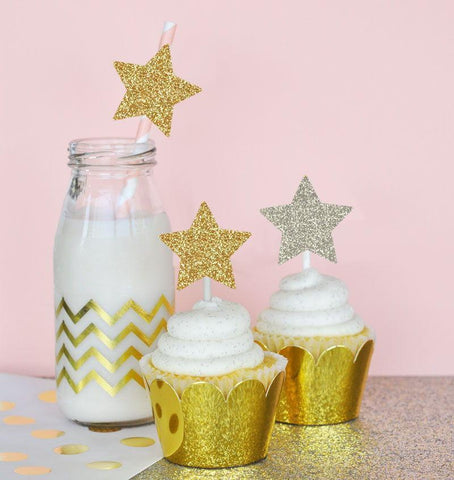 Glitter Star Stickers (Set of 24)-Jubilee Favors
