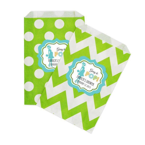 Going to Pop - Blue Chevron & Dots Goodie Bags (set of 12)-Jubilee Favors
