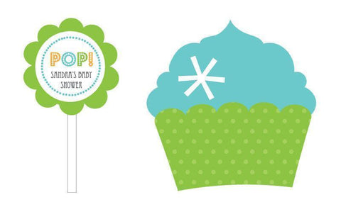 Going to Pop - Blue Cupcake Wrappers & Cupcake Toppers (Set of 24)-Jubilee Favors
