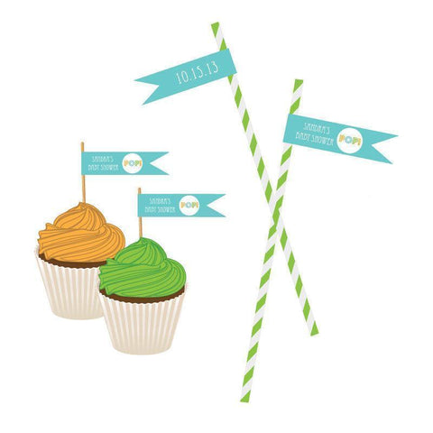 Going to Pop - Blue Personalized Flag Labels-Jubilee Favors