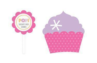 Going to Pop - Pink Cupcake Wrappers & Cupcake Toppers (Set of 24)-Jubilee Favors