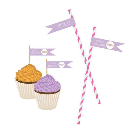 Going to Pop - Pink Personalized Flag Labels-Jubilee Favors