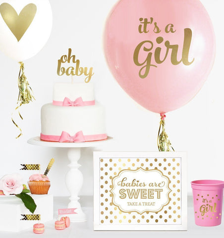 Gold BABY SHOWER Balloons (set of 3)-Jubilee Favors