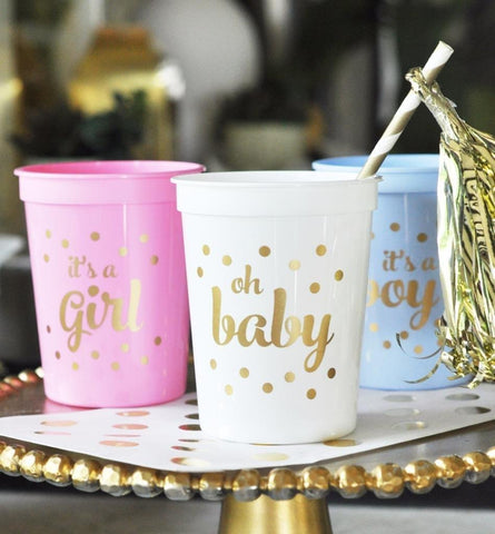 Gold BABY Shower Party Cups (set or 25)-Jubilee Favors