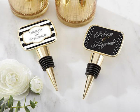 Gold Bottle Stopper with Epoxy Dome - Classic-Jubilee Favors