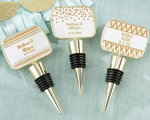 Gold Bottle Stopper with Epoxy Dome - Copper Foil-Jubilee Favors