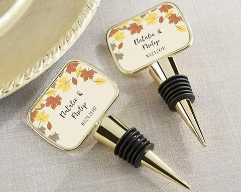 Gold Bottle Stopper with Epoxy Dome - Fall Leaves-Jubilee Favors