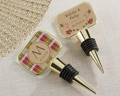 Gold Bottle Stopper with Epoxy Dome - Fall-Jubilee Favors