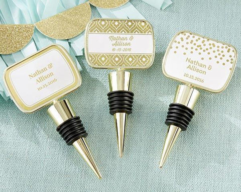 Gold Bottle Stopper with Epoxy Dome - Gold Foil-Jubilee Favors