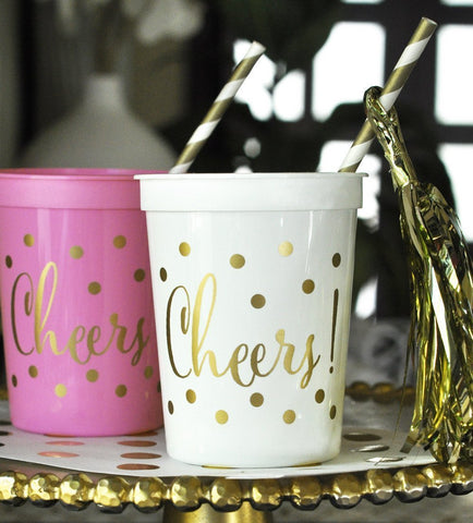 Gold CHEERS Plastic Party Cups 16 oz. (set of 25)-Jubilee Favors
